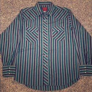 Vintage Rustler men's western striped shirt Large